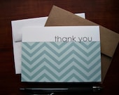 Chevron Thank You Cards - Dusty Blue Thank You Notes, Modern Stripe Stationery Set, Shades of Blue Chevron Thank You Card Set, Blue Grey