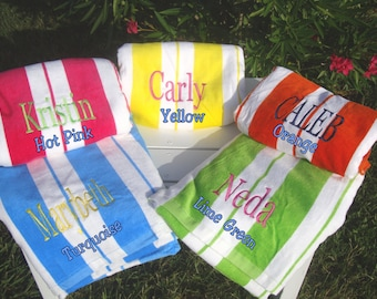 13 Beach Towels Personalized, Cabana Striped, Chevron Striped, Velour Beach Towels
