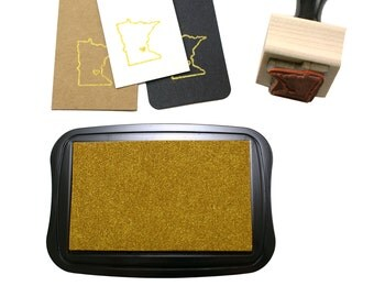 Metallic Gold Ink Pad | shiny gold pigment ink, no embossing required | quick drying, acid free, water based