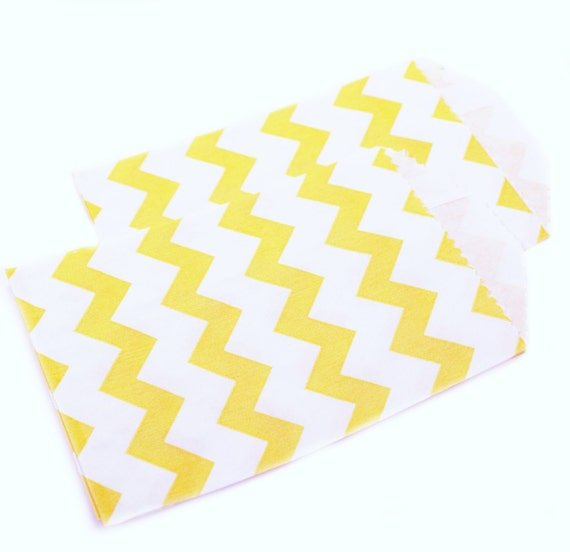 YELLOW chevron favor bags - 20 mini 2.75 x 4 chevron party favor bags - mini chevron gift bags, small wedding favor bags, party favor bags