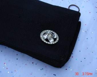 Vintage Black Textured Clutch Bag with Rhinestone Accent - Very Nice