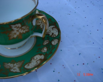 Crown Staffordshire Bone China Green and Gild Gold Cup and Saucer Set - Beautiful