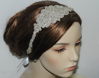 NEW  Beaded Silver Rhinestone Ribbon Headband Wedding Accessories Rhinestone Applique Headband