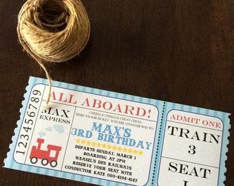Train Themed Birthday Invitations - Set of 12