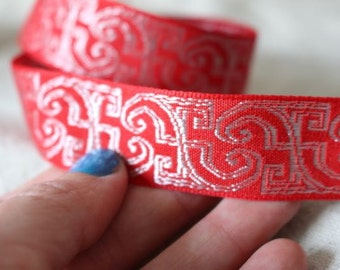 RED and SILVER Insight jacquard woven ribbon