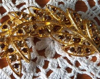 Delicate and Beautiful Amber Rhinestone Leaf Brooch