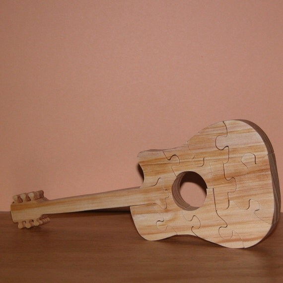 home decor guitar puzzle musical instrument by woodncreations. Black Bedroom Furniture Sets. Home Design Ideas