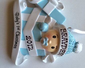 Personalized  Baby Boy's First Christmas Ornament Baby present - Newborn, Baby Shower Gift, Gift Tag, Party Favor.