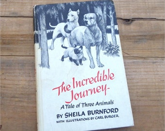 THE INCREDIBLE JOURNEY, Children's Classic Literature, 1961, Shelia Burnford, Vintage Kids Book