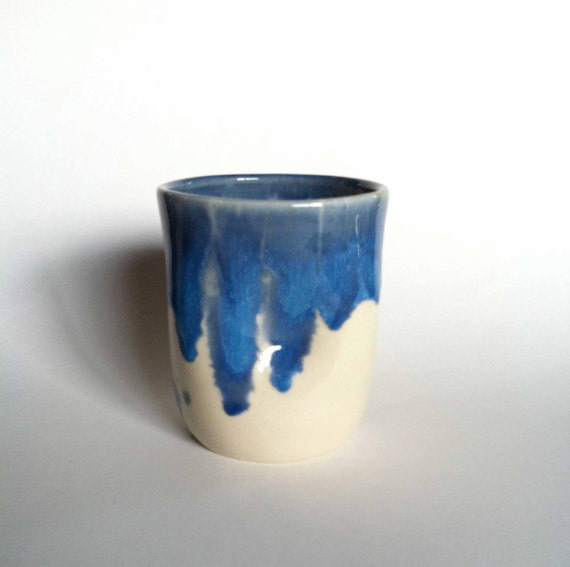 Porcelain cup with crystal clear glaze and vibrant blue glazed - Handleless coffee mugs ...