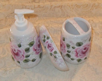 Hand Painted Rose Soap/Lotion Pump Toothbrush and Soap Holder Set Victorian Cottage Chic