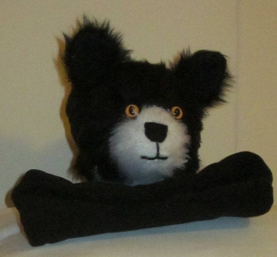 Black & White Cat  Made to Measure Arm Puppet Activity Toy Plush Fabric Head  Fleece Body Calico Lined  Party Activity Toy