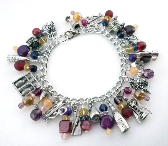 Cheer Charm Bracelets: Wine And Cheer Charm Bracelet