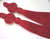 Moroccan  red art silk tassels, plaited, set of 2