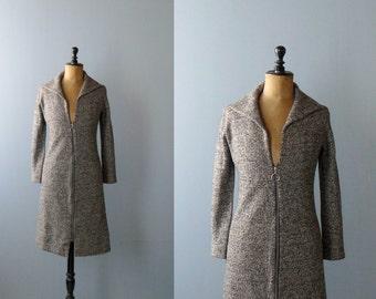 Vintage 1970s wool maxi cardigan. knit dress. 1970s maxi sweater