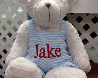 Personalized bear teddy bear 18 inch overalls