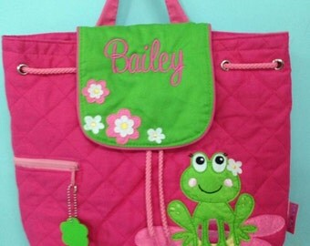 Personalized backpack pink green frog