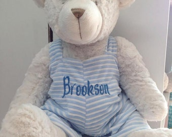 personalized bear 18 inch pink or blue overalls monogrammed. Black Bedroom Furniture Sets. Home Design Ideas