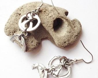 Unique Dangle Earrings, Lightweight, Recycled Metal, Aluminium