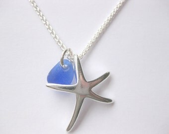 Sea glass necklace - sterling silver seaglass jewelry Starfish Seaglass sterling beach Glass necklace Beach Glass Jewelry