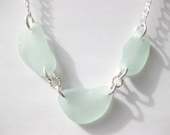 SS sea foam necklace  sea glass jewelry  sea glass pendant
