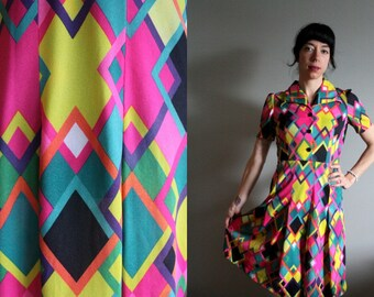 Vintage / 1960s - 70s / Circus / Geometric Print / Pushing Daisies / Deadstock / Dress