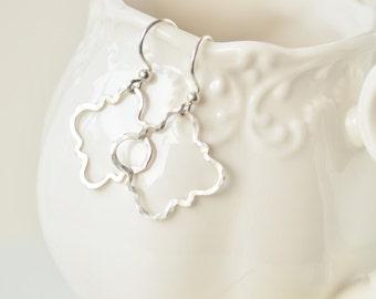 Moroccan Shaped Sterling Silver Earrings - Quartrefoil