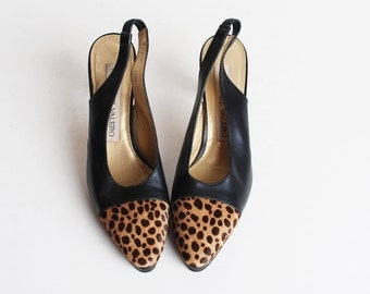 Vintage 90s Black Leather Leopard Cap Toe Slingback Heels, 8 38