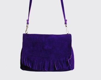 Vintage 60s 70s FRINGE Suede PURSE / Fringed Purple BAG