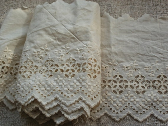 4 yards vintage broderie anglaise lace vintage wedding for Decoration anglaise