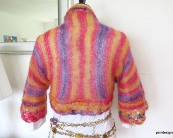 Pastel silk shrug, kid mohair and silk sweater shrug, luxurious hand knit cardigan bolero