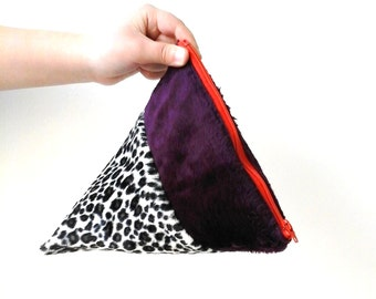 Faux Fur Clutch in Deep Purple and Leopard Print Animal Print Pyramid Bag