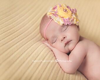 Ruffles and Lemonade- bright pink and yellow ruffle and rosette headband