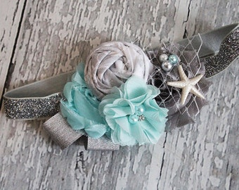 Sparkling Seas-  beach and mermaid inspired chiffon and rosette headband in metallic silver and aqua
