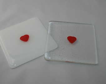 Tiny Red Heart Coaster (On White or Clear Background)