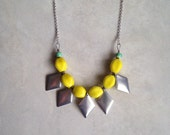 Long boho necklace, yellow with silver metal