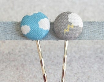 Fifty Percent Chance Fabric Covered Button Bobby Pin Pair