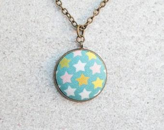 Tiny Stars, Fabric Button Pendant Necklace