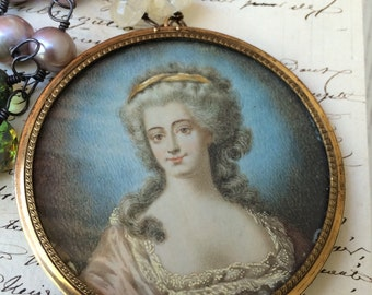 Lay a Way Payment 3 - BELLE MARIE - Beautiful Hand Painted Portrait Miniature Necklace with Pearls, Citrine, and Vintage Glass Beads