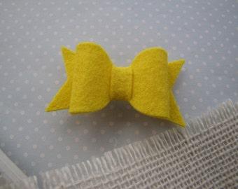 Banana . french barrette . wool felt bow . girls hair accessory . yellow