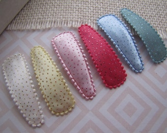 Satin & Sparkle . snap clip set . toddler hair accessory . white yellow pink blue