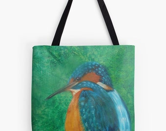 """Kingfisher Tote Bag - Artist's Mixed Media Painting Design. Two Sizes Available Medium 16"""" and Large 18"""""""