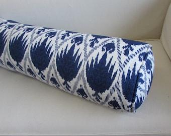casablanca indigo ikat bolster round pillow 8x36 super long
