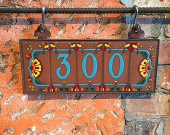 Custom Turquoise on Terra Cotta Talavera Ceramic House Number Set