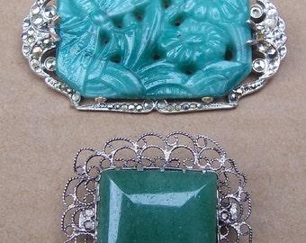 Vintage rhinestone brooch 2 faux jade pins Art Deco brooch destash up cycle recycle