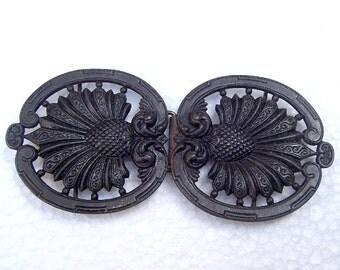 Art Nouveau belt buckle dress buckle sash buckle Art Deco buckle Edwardian buckle antiqued black lacquer (AO)