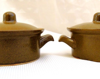 2 vintage bake dishes.cassoulets.olive green.crockery.small casserole dishes.bakeware.tessiemay