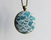 Teal Necklace, Teal Lace Necklace, Flower Jewelry, Floral Teal Green Jewelry, Wedding Unique Gift For Women, Mom, Teacher, Large Pendant