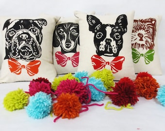 Dog Face Block Printed Pillow - Your Choice of Bow Tie Color - Includes Pillow Insert, Boston, Golden, Springer, Doxie, Chihuahua Shih Tzu