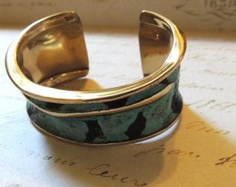 Modernist Cuff Bracelet Aqua Blue Black Designer RAL Artisan Vintage Jewelry